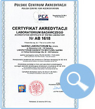 certyfikat akredytacji AB 1618